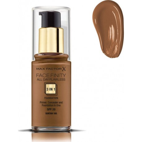 Max Factor Facefinity All Day Flawless 3 In 1 Foundation Sun Tan 100 30ml SPF20